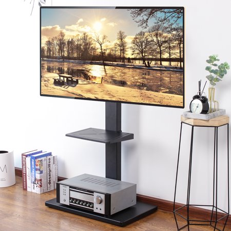 "Rfiver 2-Shelf TV Stand with Mount for TVs up to 65"", Ideal for Flat Screens, Black Metal Base RTF1001"