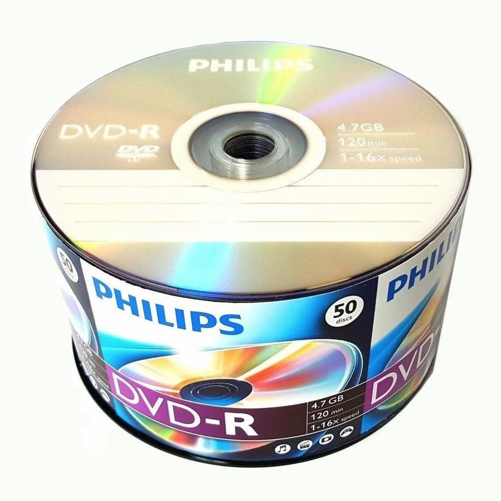 50 Pack Philips Blank DVD-R DVDR Logo Branded 16X 4.7GB 120min Recordable Media Disc