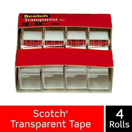 Scotch Transparent Tape Dispensers 4 Pack 3 4 In X 850 In 4 Dispensers Pack