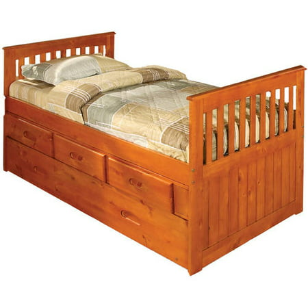 American Furniture Classics Twin Rake Bed with Trundle and 3 drawers in honey finish.