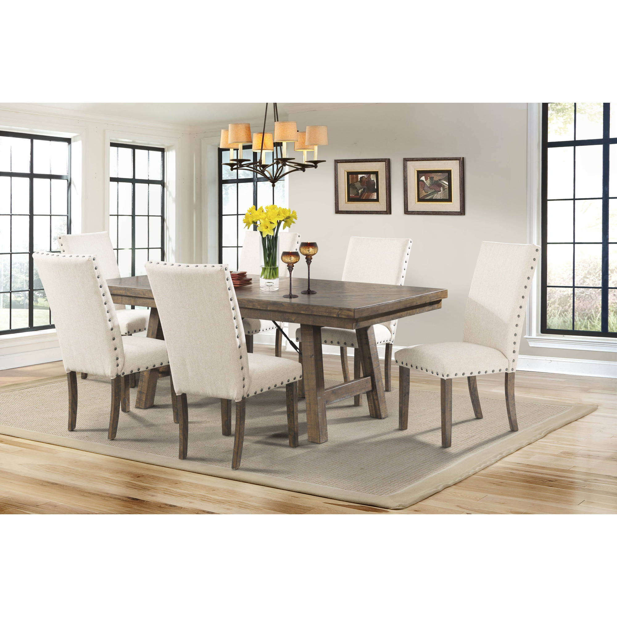 Picket House Furnishings Dex 7-Piece Dining Set-Table and 6 Upholstered Side Chairs