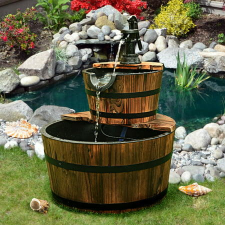 2 Tier Barrel Waterfall Fountain Barrel Wooden Water Fountain Pump