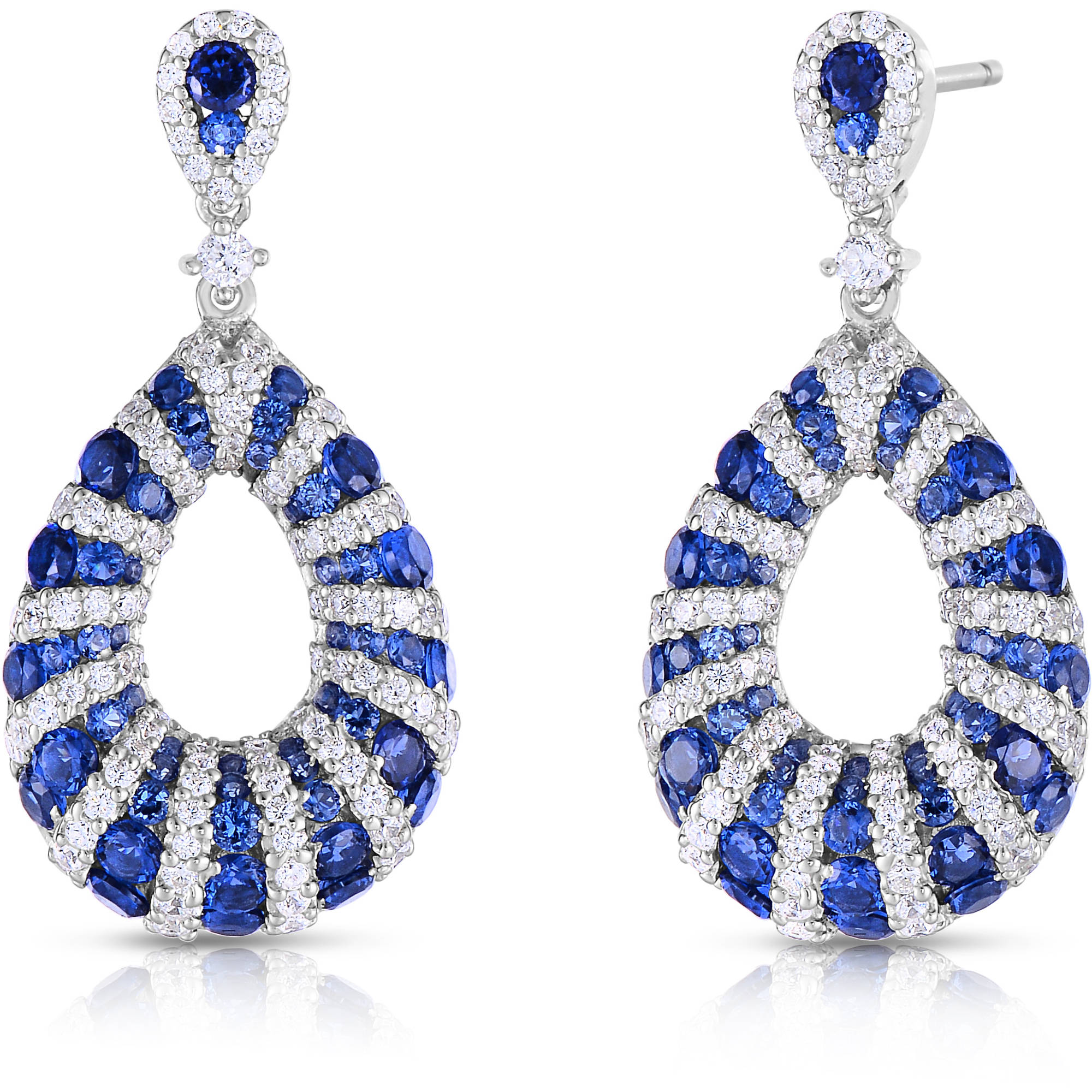 Blue and White CZ Sterling Silver Earrings