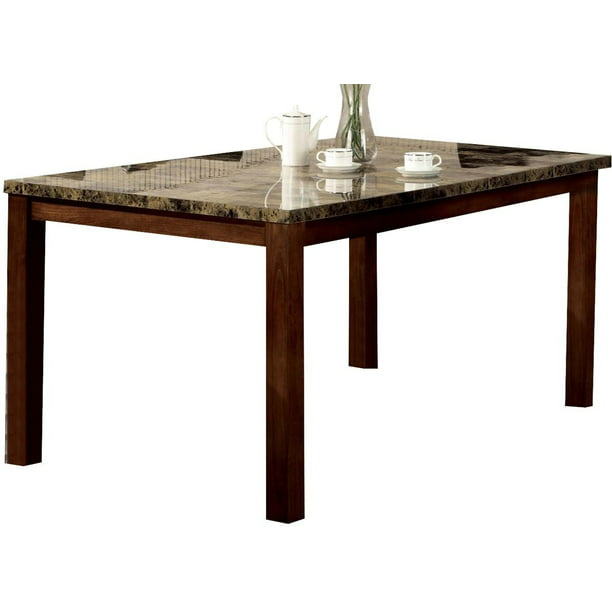 Blackburn Faux Marble Top Dining Table Warm Brown