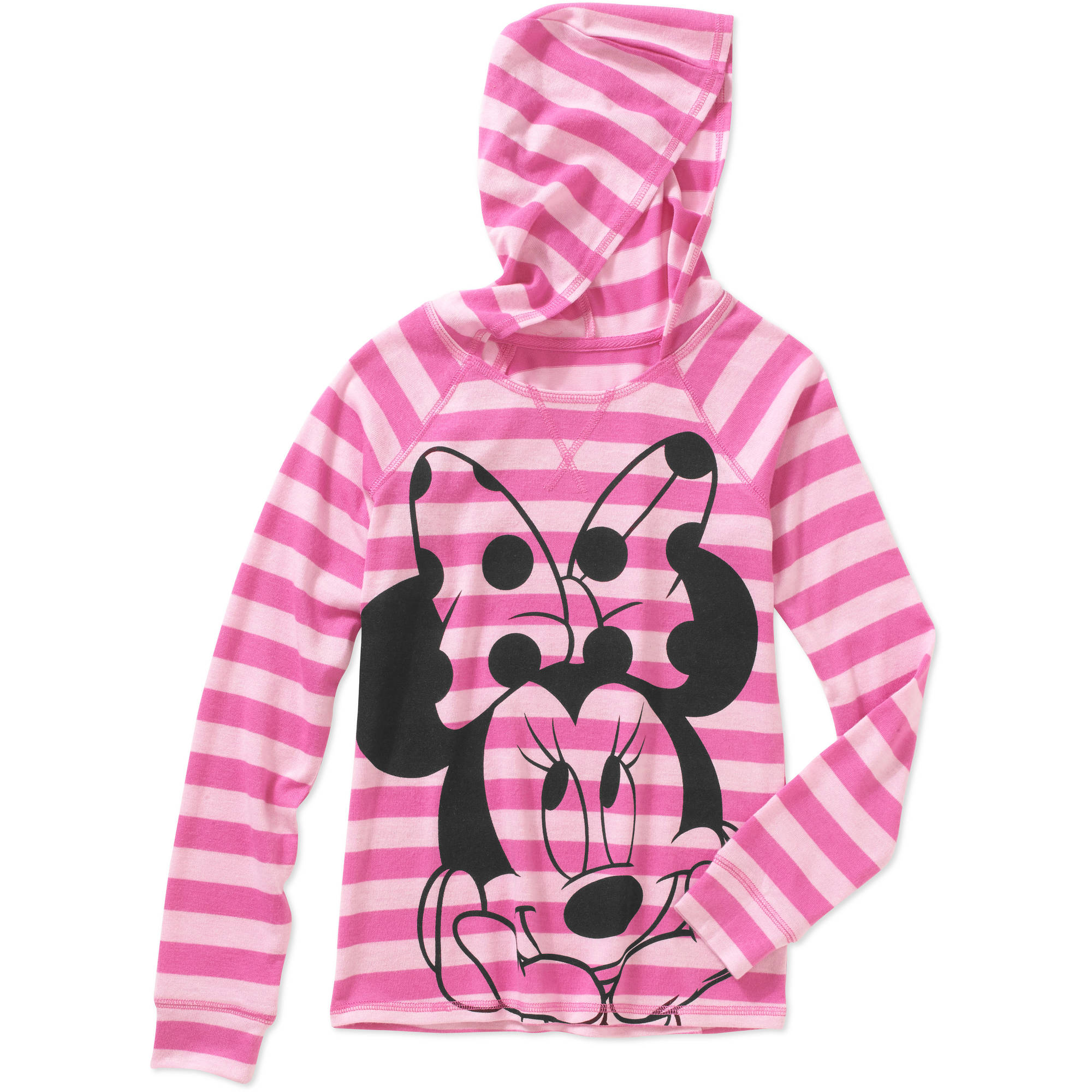 Minnie Mouse Girls' Long Sleeve Hacci Top with Hood