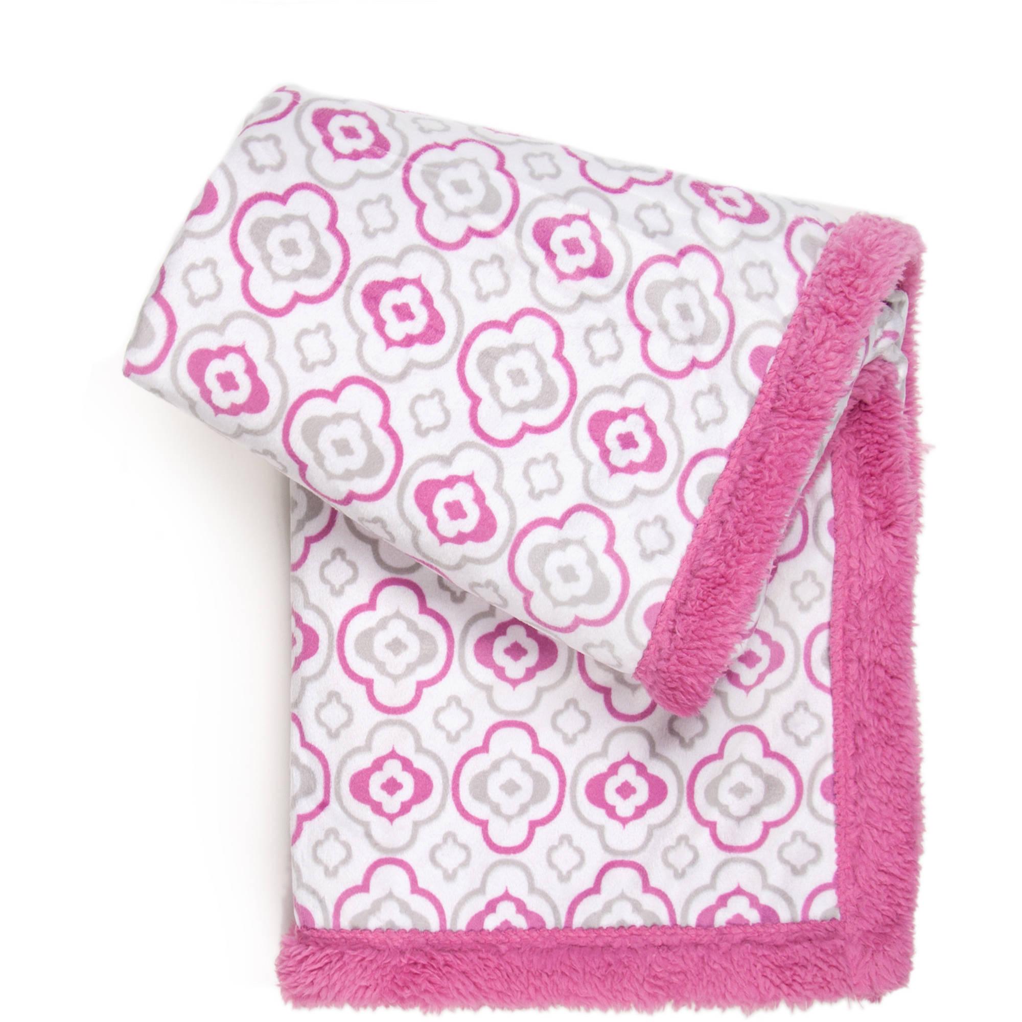 Tadpoles Double Plush Baby Blanket, Grey Chevron