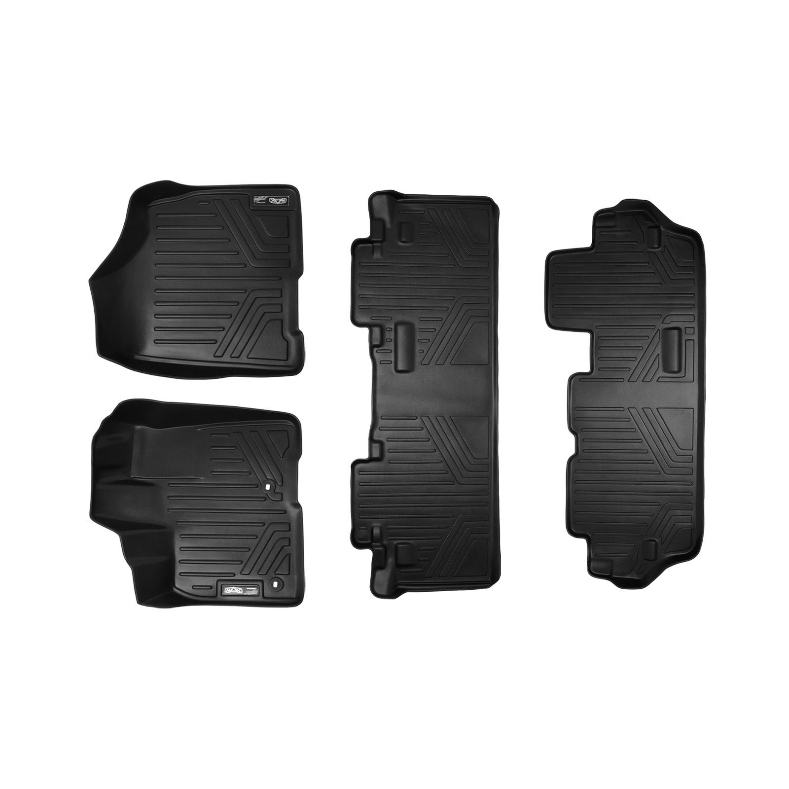 MAXFLOORMAT All Weather Floor Mats Liner (3 Row) Set for Sienna 8seats (Black)