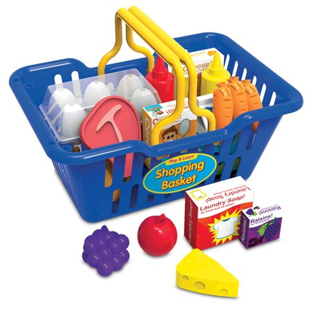 Play and Learn Shopping Basket Kids can enjoy the complete shopping experience with the Play and Learn Shopping Basket! Our kid-sized Shopping Basket is easy to carry with its lightweight plastic construction and big handles. Fun Accessories include a variety of plastic and cardboard food items.