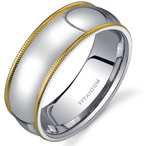 Oravo Men's Comfort Fit Titanium Wedding Band Ring, 8mm