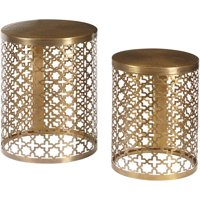 Round Perforated Metal Brass Accent Tables, Set of 2