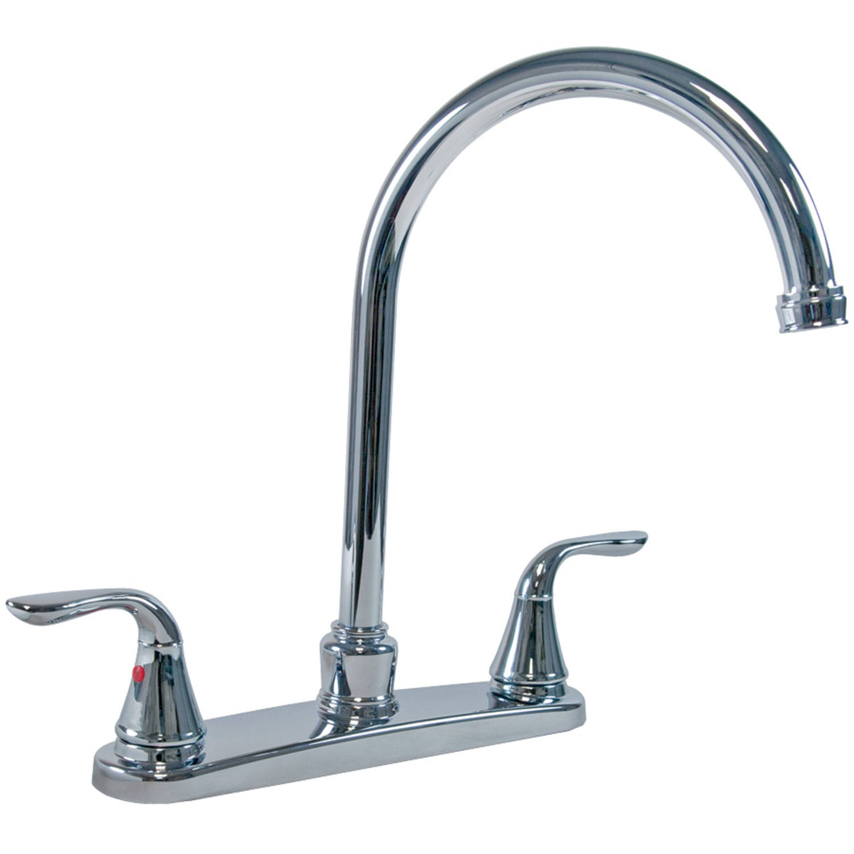 Aqua Plumb 1558030 Chrome-Plated 2-Handle Gooseneck Kitchen Faucet