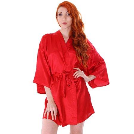 Women's Short Satin Sleepwear Kimono Robe Bridesmaid Bathrobe, Red (Red Satin Robes)