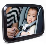 Baby & Mom Baby Mirror for Car Seat, Shatterproof and Wide Convex Mirror, Black