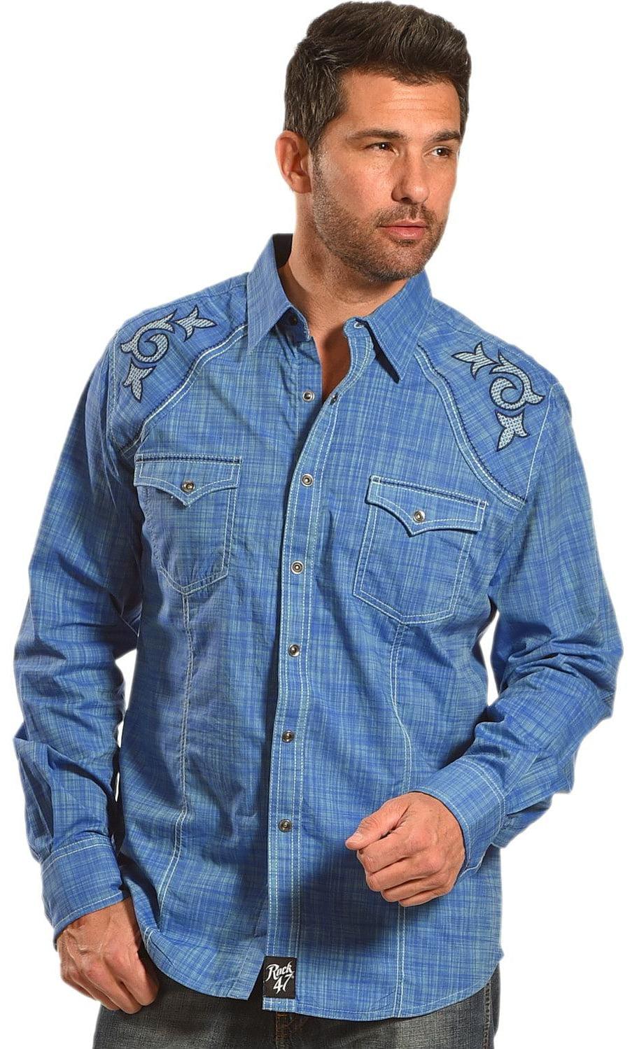 Wrangler Mens Rock 47 Western Long Sleeve Button up Shirt