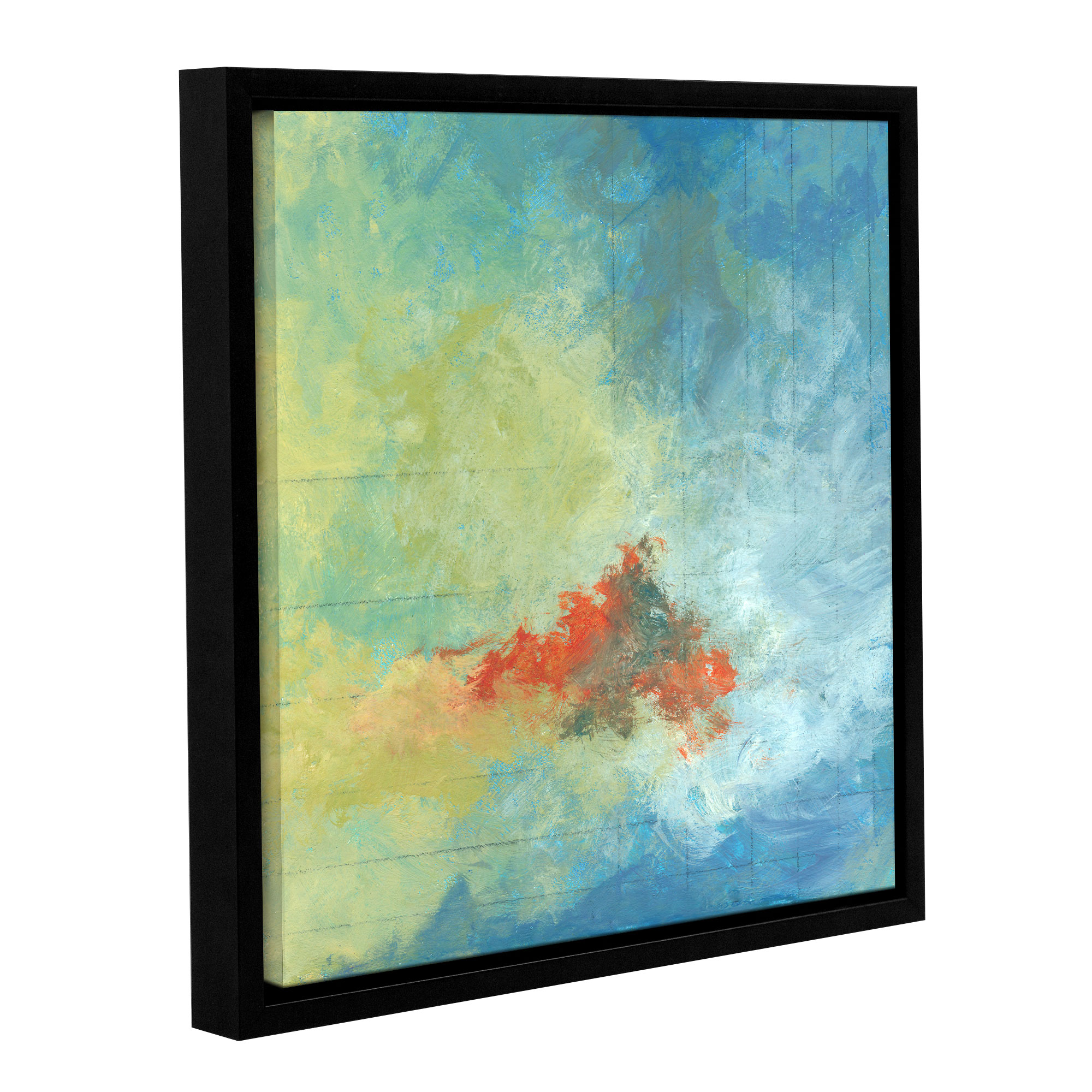Earth and Lines II' Gallery Wrapped Floater-framed Canvas Art Print