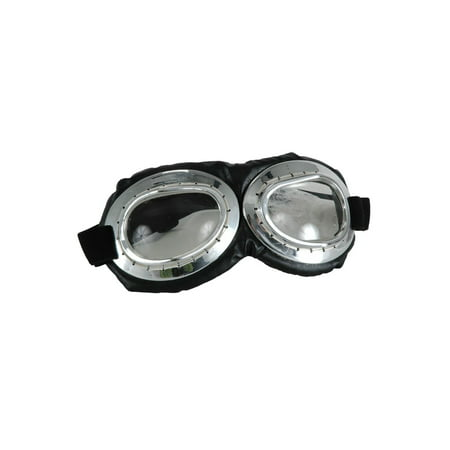 Aviator Goggle Silver & Black Adult Costume - Giggles Costumes