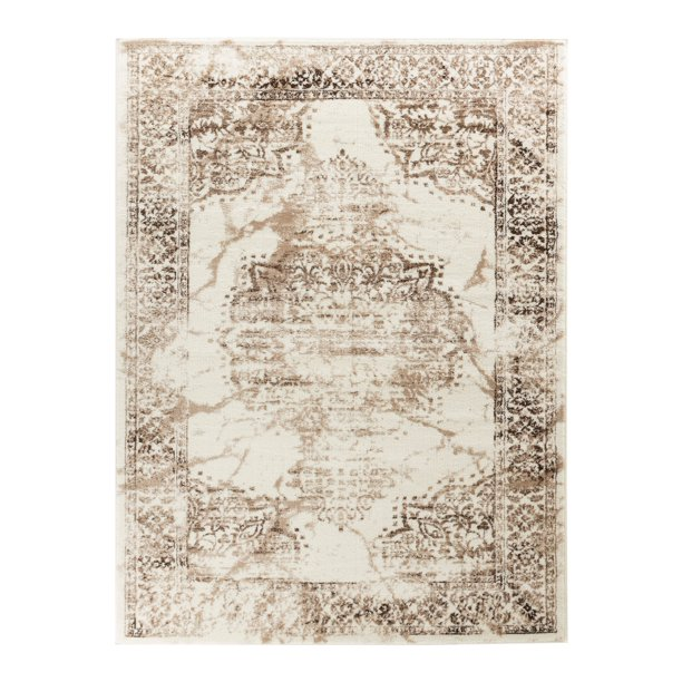 Elite Collection Rug Brown White