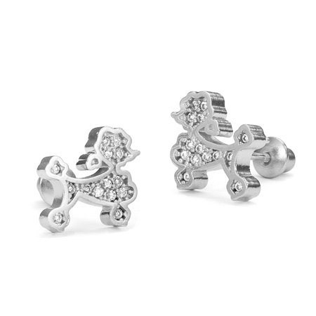 Sterling Silver Rhodium Plated Poodle Cubic Zirconia Screwback Baby Girls Earrings](Poodle Girl)