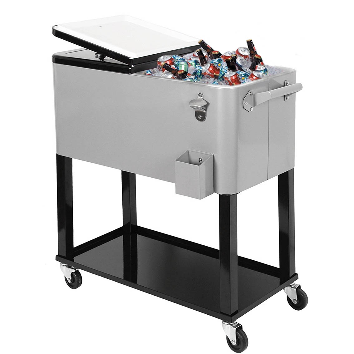 Marvelous Product Image Clevr 80 Qt Quart Rolling Cooler Ice Chest Patio Outdoor  Picnic Portable Cart Grey