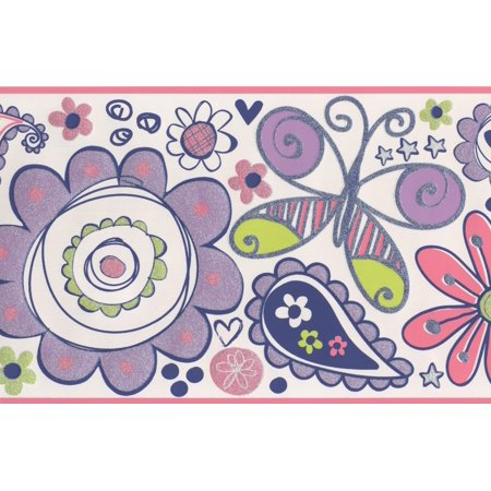 Wallpaper Border - Red Purple Painted Flower Butterfly Kids Wall Border for Bedroom Playroom , Roll 15 ft X 9 in