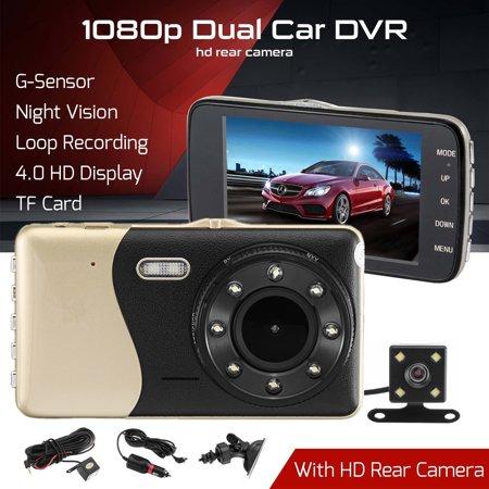 "4"" Dual Lens Car DVR Camera Dash Cam Video Rear Recorder G-Sensor Night Vision HD 1080P  - image 9 of 11"