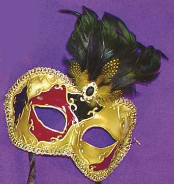 Mystique Eye Venetian, Masquerade, Mardi Gras Mask with Feathers Style E