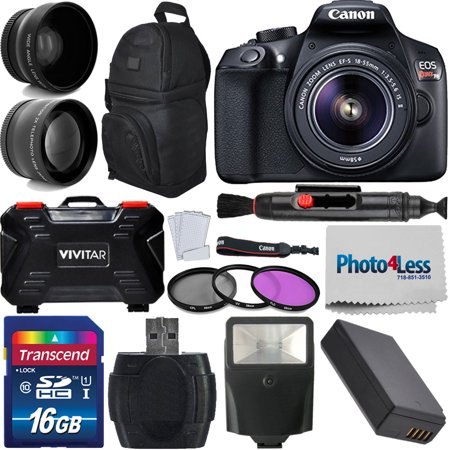 Canon 1300D / Rebel T6 DSLR Camera + 18-55mm + 16GB Best Value (Best Dslr For 1000 Pounds)