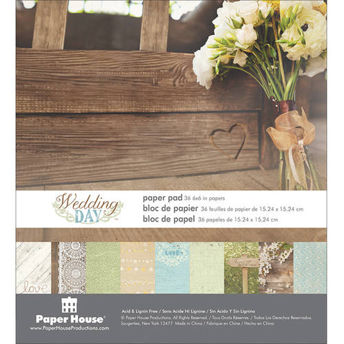 "Paper House Double-Sided Paper Pad, 6"" x 6"", Wedding Day"