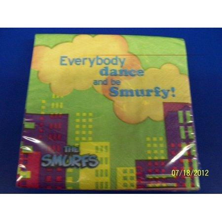 RARE Smurfs Movie Animated Cartoon Kids Birthday Party Paper Beverage Napkins Animated Birthday Party