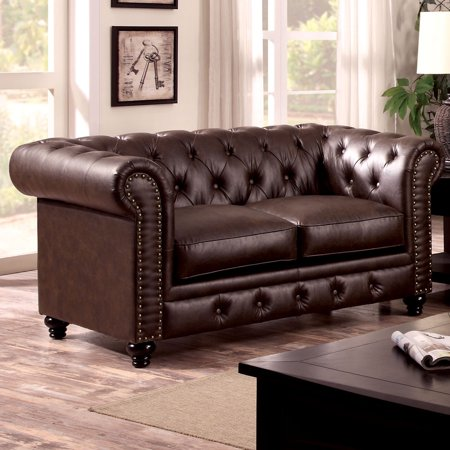 Furniture of America Staffers Traditional Deep Tufted Tuxedo Style Loveseat by FOA