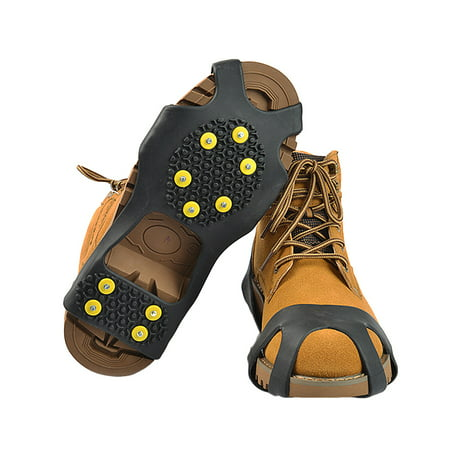 Anti-Slip Ice Snow Cleats Grippers Crampons Slip-on Ice Grips for Shoes/Boots Yellow (Best Shoes For Ice Grip)