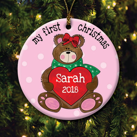 Cheap Personalized Christmas Ornaments (Girl's First Christmas Personalized)