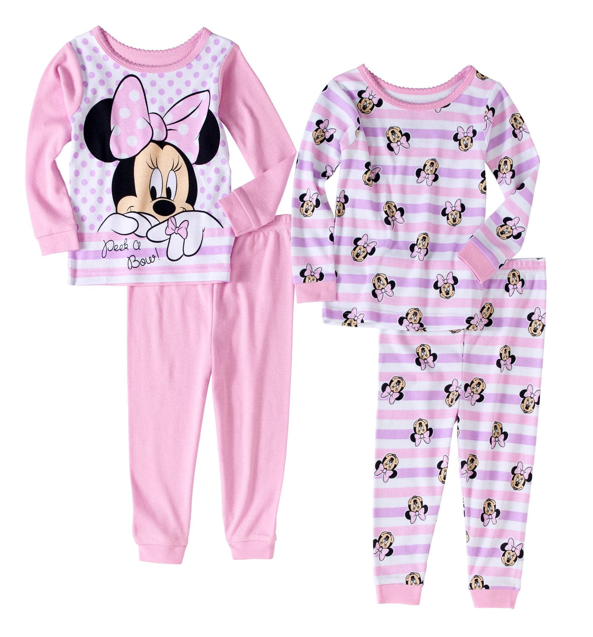 Minnie Mouse Newborn Baby Girls' Cotton Tight Fit Pajamas, 4 - Piece Set
