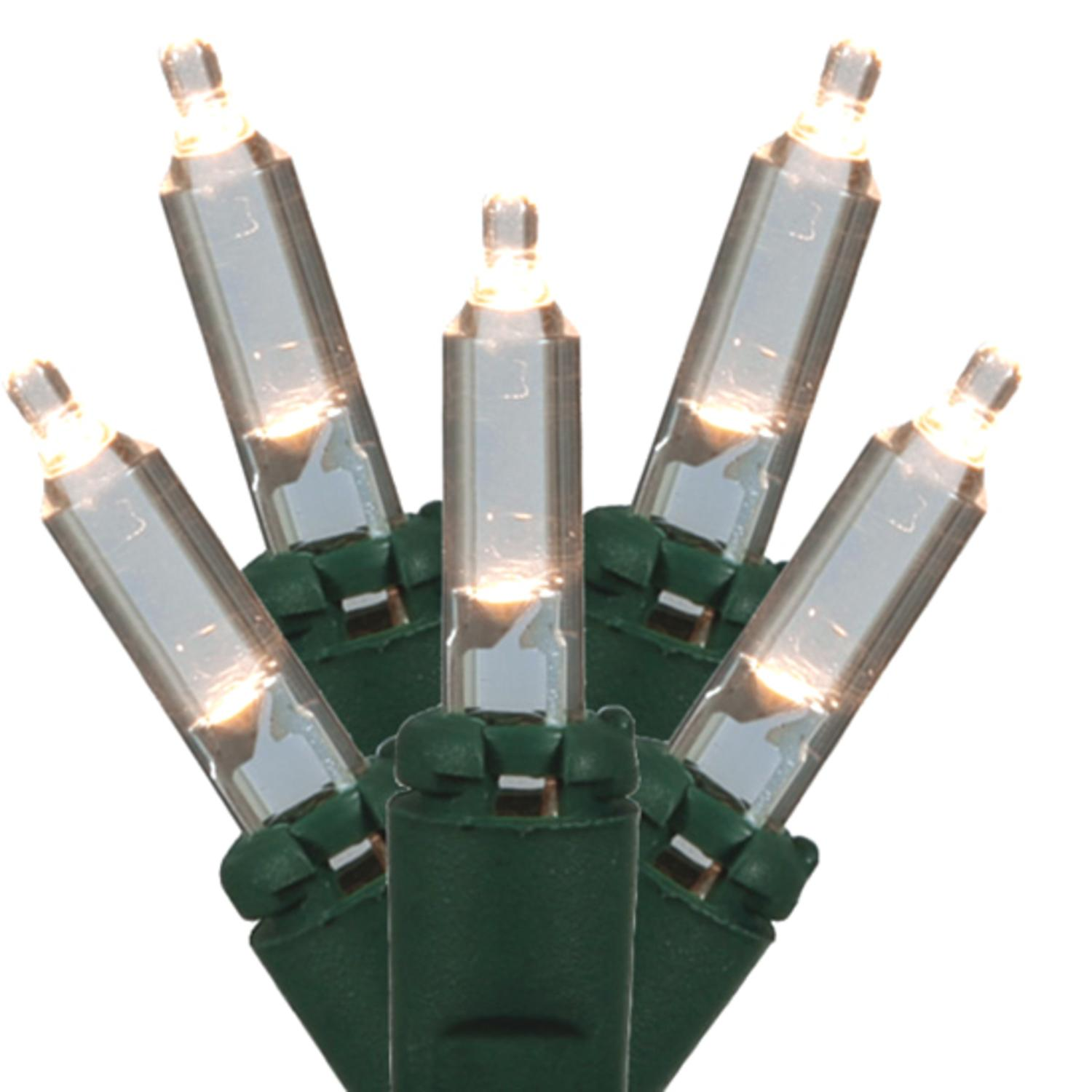 Set of 50 Pure White LED Mini Christmas Lights - Green Wire