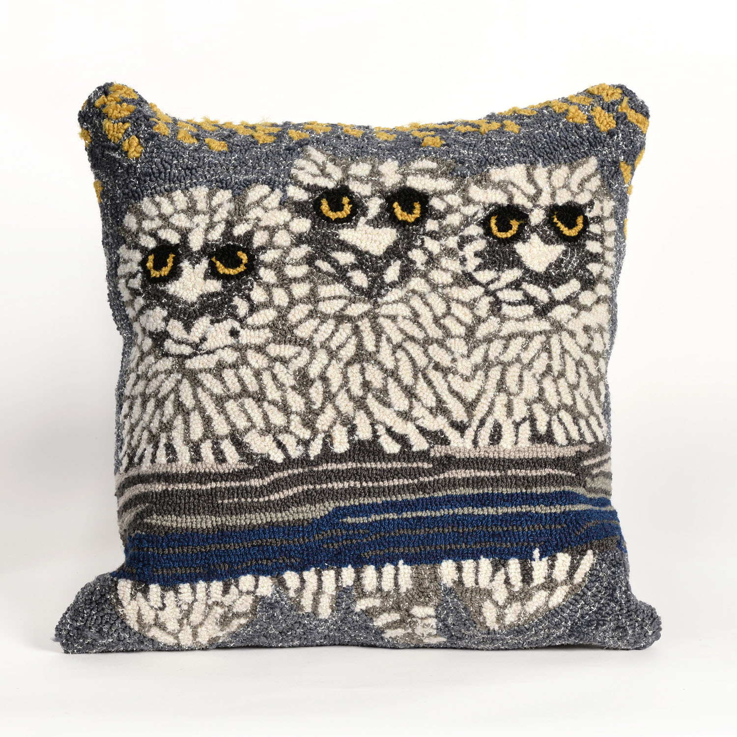 Frontporch Owls Night Pillow-Color:Off White