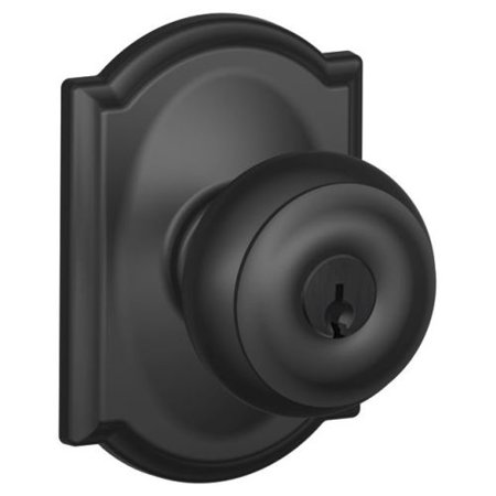 (Schlage F51-GEO-CAM Georgian Keyed Entry F51A Panic Proof Door Knob with Camelot Rosette)