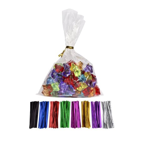 100 Pcs 9 in x 6 in(1.4mil.) Clear Flat Cello Cellophane Treat Bags Good for Bakery, Cookies, Candies ,Dessert with random color Twist Ties! 6