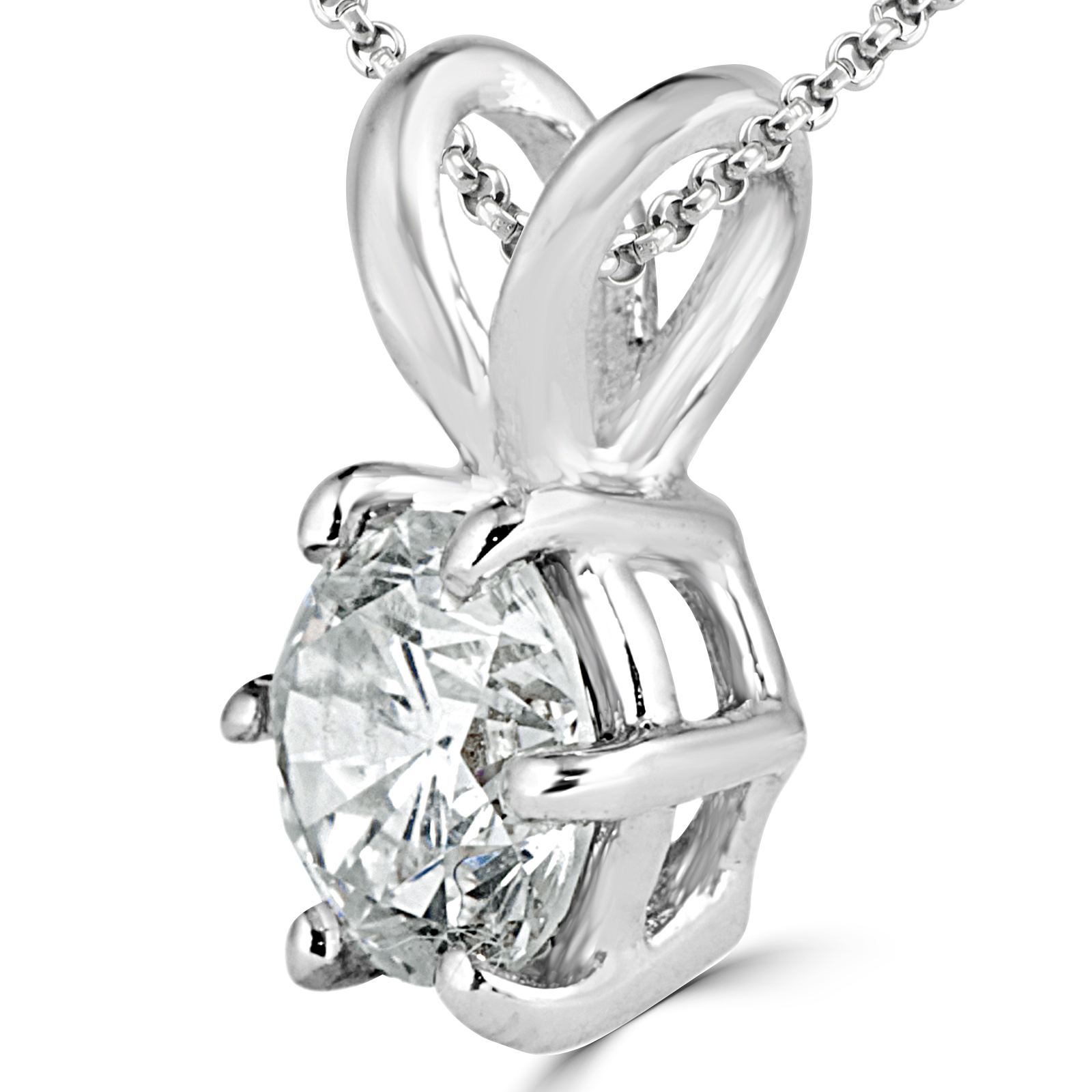 3/4 CT Round Diamond Solitaire Pendant Necklace in 14K White Gold With Chain with Accents (MD170215) - image 1 of 2