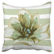 BSDHOME Green And Grey Striped Watercolor Floral Pillowcase Cushion Cover 20x20 inch