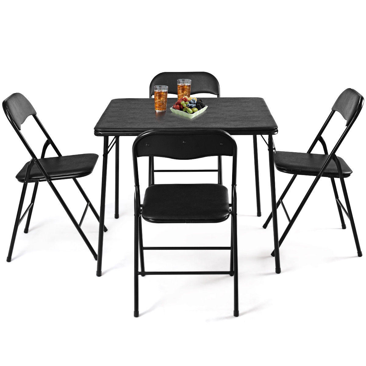 Costway 5PC Black Folding Table Chair Set Guest Games Dining Room Kitchen Multi-Purpose