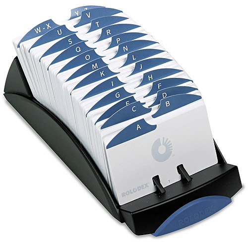 Rolodex VIP Open Tray Card File with 24 A-Z Guides, Black