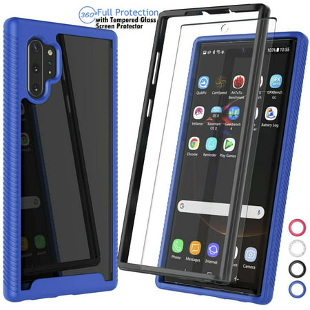 Njjex Galaxy Note 10 10+ 10 Plus 5G 2019 Phone Case [with Tempered Glass Screen Protector] Full-Body Rugged Transparent Clear Back Bumper (Best Rugged Flip Phone 2019)