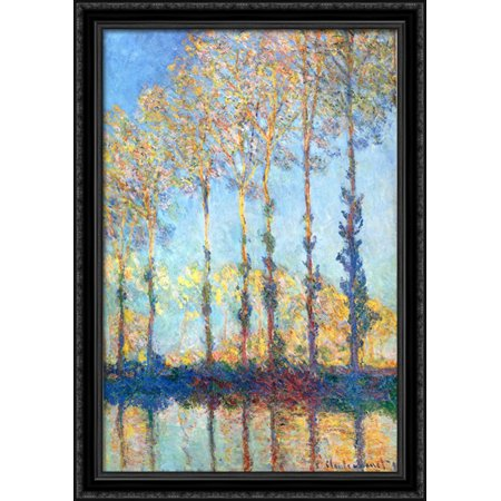 Poplars On The Banks Of The Epte 28X40 Large Black Ornate Wood Framed Canvas Art By Claude Monet