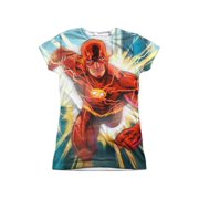 Jla - Faster Than Lightning (Front/Back Print) - Juniors Cap Sleeve Shirt - Large