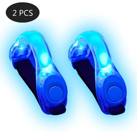 2 Packs LED Safety Lights Armband Running Belt Night Runners Walking Accessories for Men and Women, Replaceable Battery, Blue