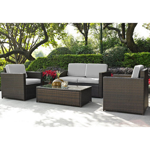 Crosley Furniture KO70001BR-GY Palm Harbor 4-Piece Resin Wicker Outdoor Seating Set (Brown/Grey)