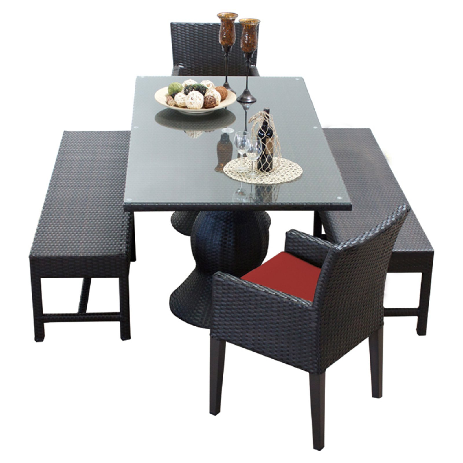 TK Classics Napa Wicker 5 Piece Rectangular Patio Dining Set with 4 Cushion Covers