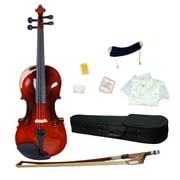 Glarry Acoustic Student Solid Violin Fiddle Starter Kit with + Case + Bow + Rosin + Strings + Shoulder Rest + Tuner -1/8 1/4 1/2 3/4 4/4