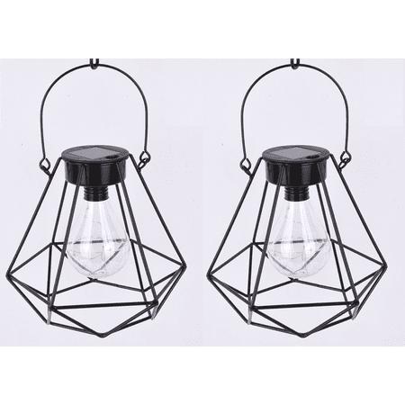 Set of 2 - Better Homes & Gardens Alton Geometric Outdoor Solar Lantern