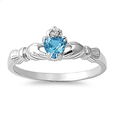 Benediction of the Claddagh Blue Simulated Topaz Cubic Zirconia Ring Sterling Silver (Blue Topaz Claddagh Ring)